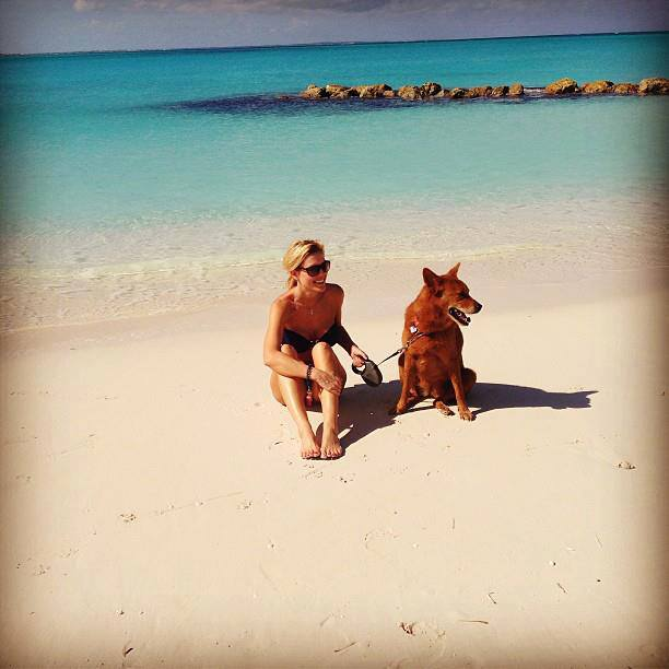 Tiffany in Turks and Caicos Islands with Noni Bear